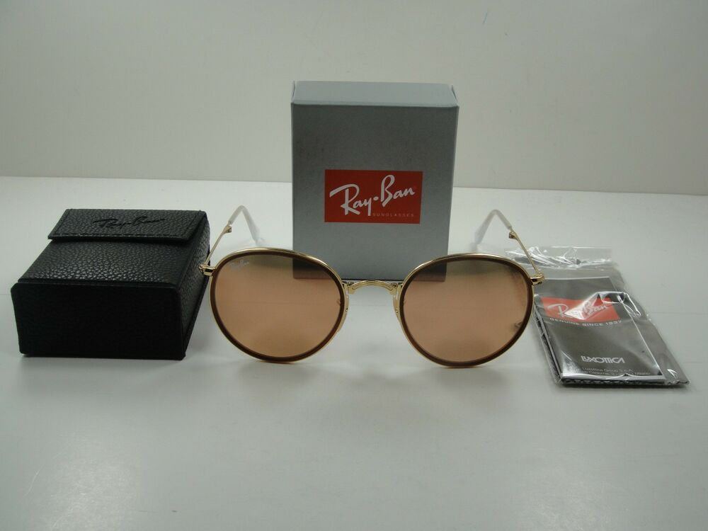 ray ban round folding frame sunglasses  ray ban round folding sunglasses rb3517 001/z2 gold frame/copper flash lens 51mm