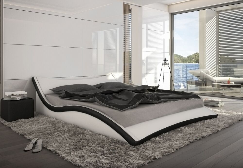 designer polsterbett lederbett wei o schwarz wellenf rmiges leder bett gewellt ebay. Black Bedroom Furniture Sets. Home Design Ideas