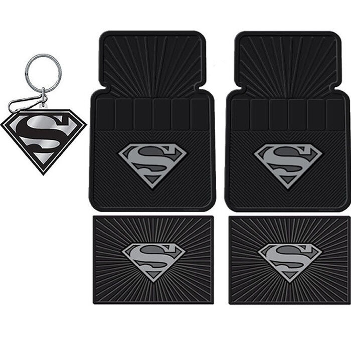New Superman Silver Car Suv Truck Black Rubber Floor Mats