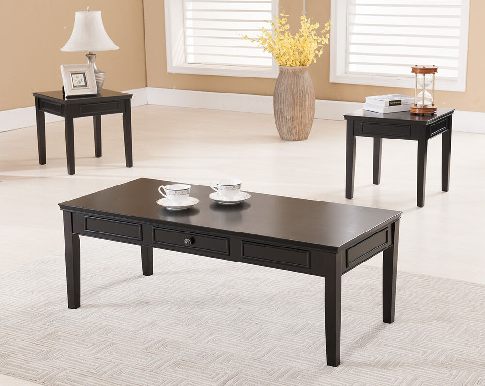 3 pc kings brand black finish wood coffee table 2 end for Occasional tables