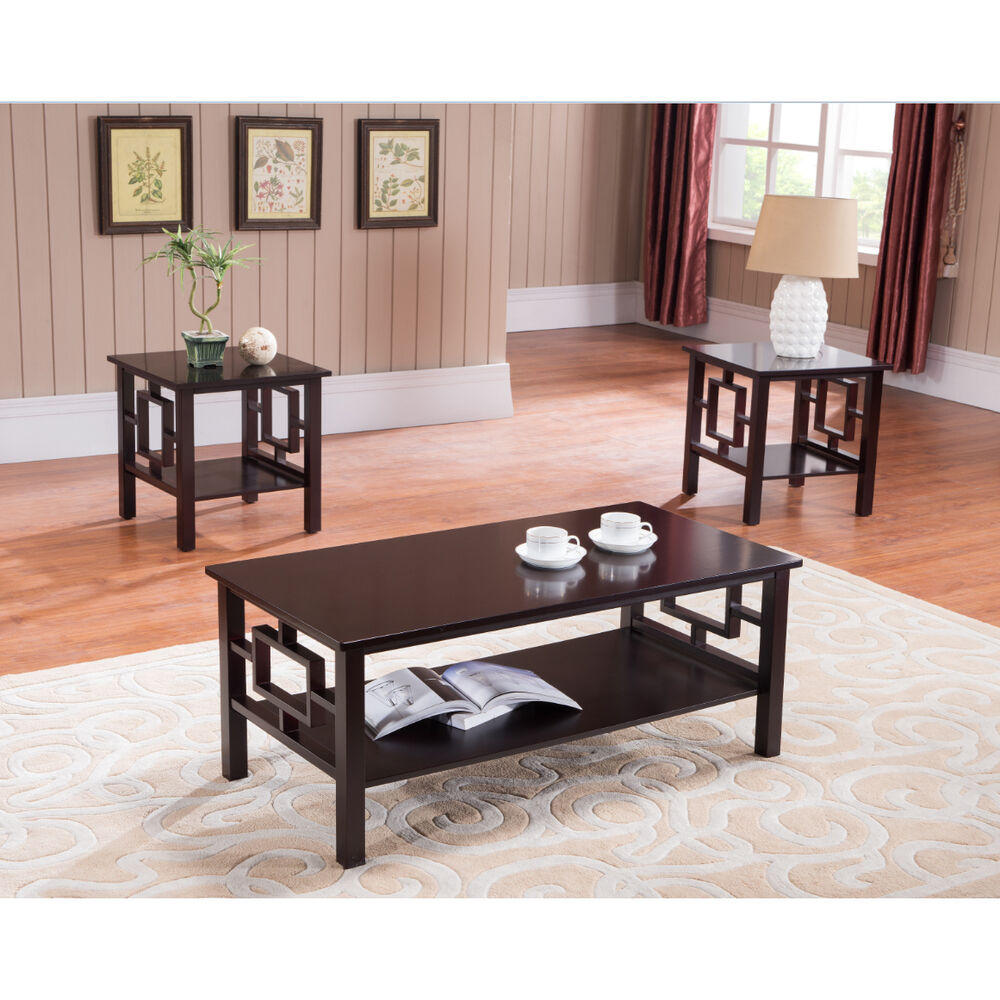 3 Pc Kings Brand Cherry Finish Wood Coffee Table 2 End Tables Occasional Set Ebay