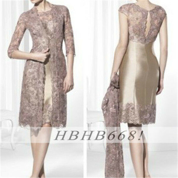 Mother of the bride outfits with lace long jacket women for Cocktail dress with jacket for wedding