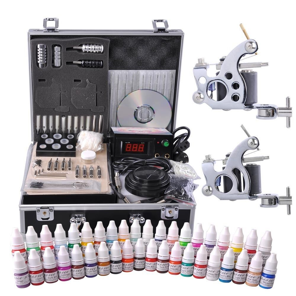 Pro complete tattoo kit 40 color ink 2 machine guns 50 for Tattoo supplies ebay