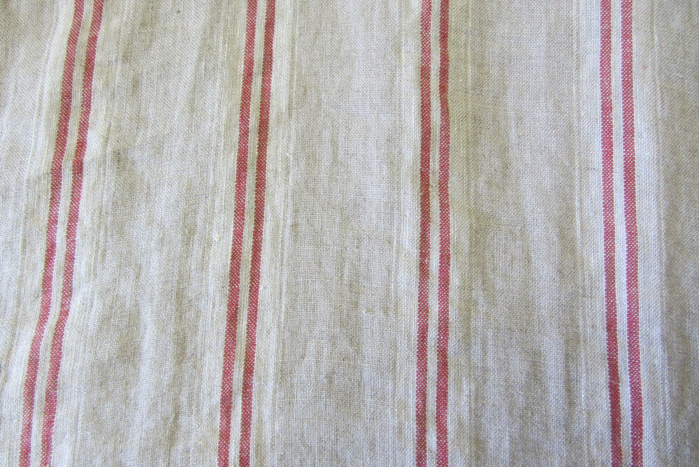 French Vintage Linen Stripe Red Curtain/Craft / Upholstery