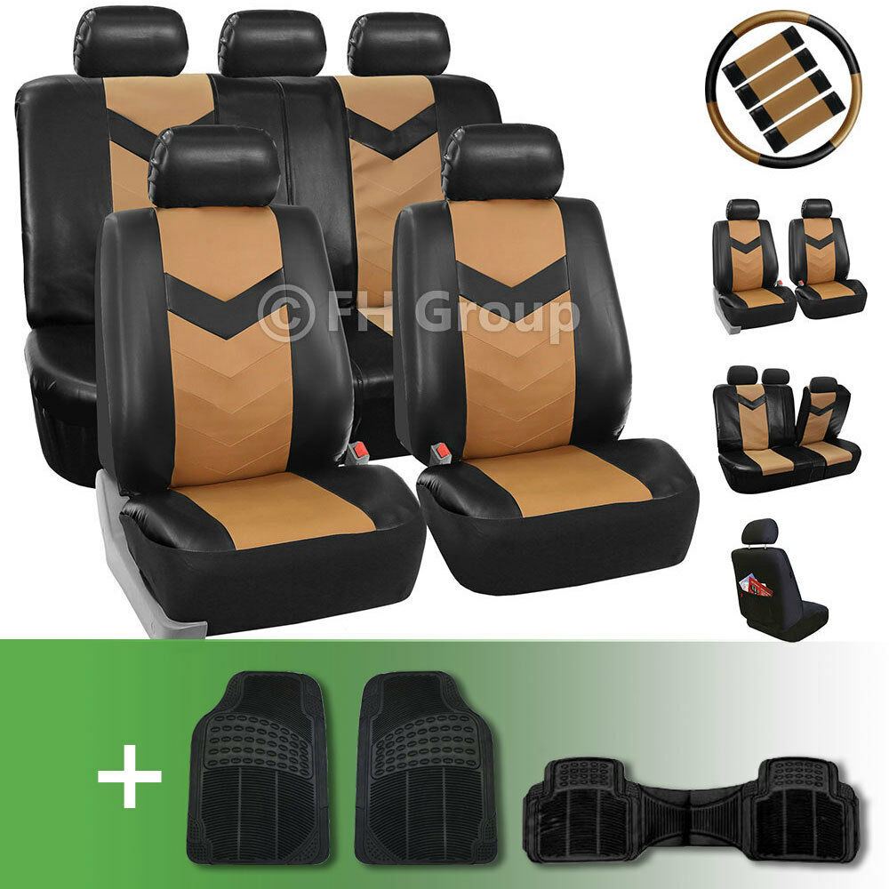 Synthetic Leather Car Seat Covers W Floor Mats And