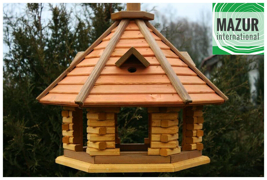 Wooden bird feeder, feeding station, table, bird's house ...