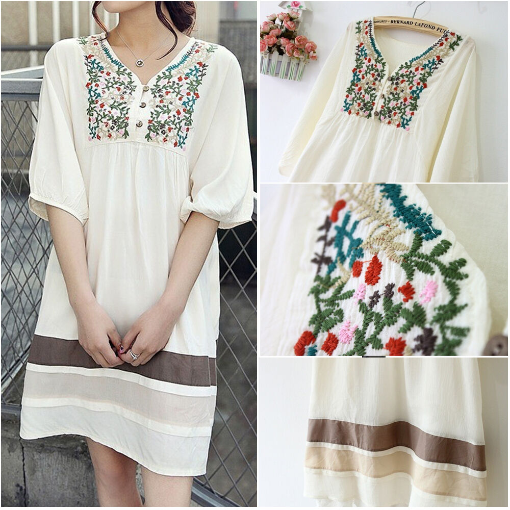 Vintage s peasant embroidered floral mexican gypsy dress