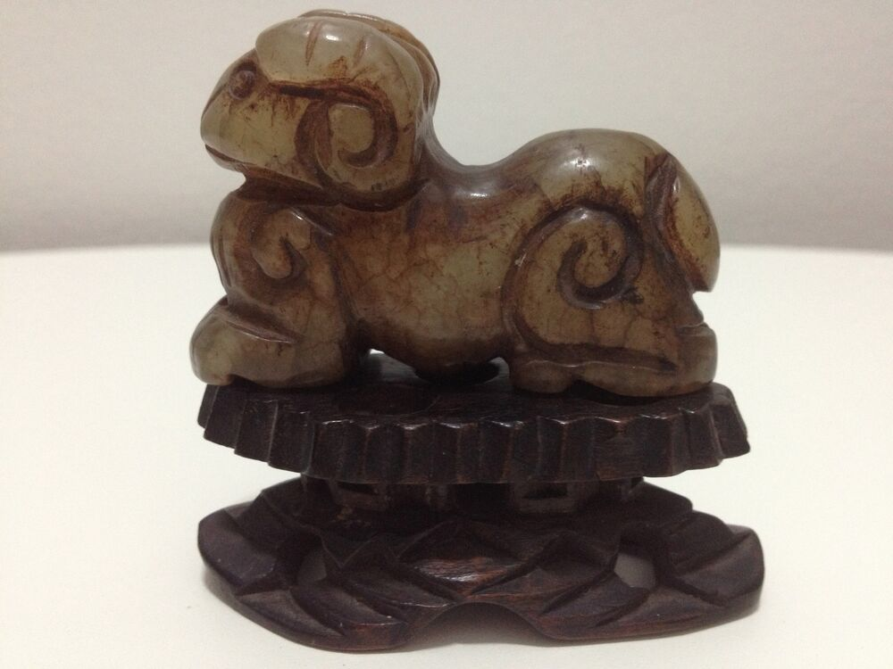 Antique chinese jade stone carved goat statue with wood