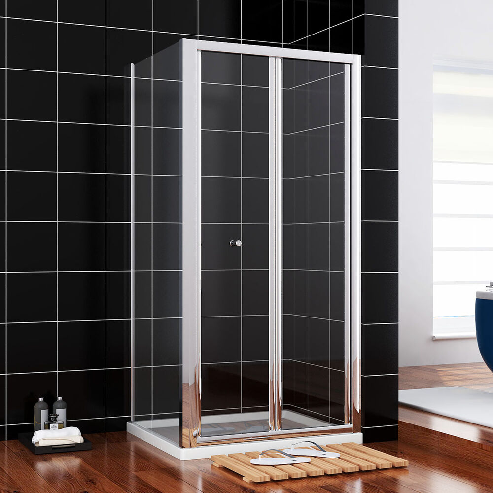 800x900mm chrome bifold shower enclosure cubicle glass for Bifold door screens
