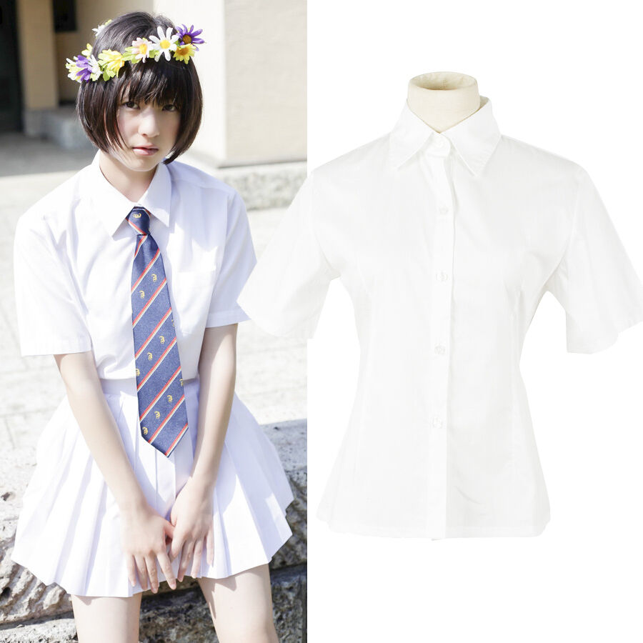 Women Jk Student School White Short Sleeve Blouse Uniform