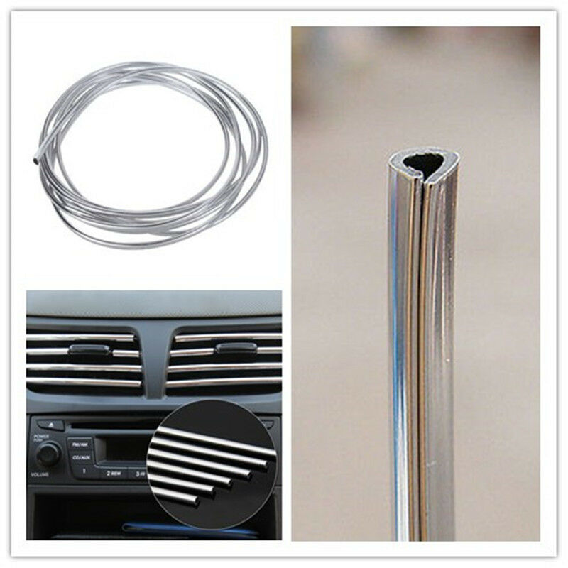 silver car interior decor door chrome moulding trim strip u style decoration 4m ebay. Black Bedroom Furniture Sets. Home Design Ideas