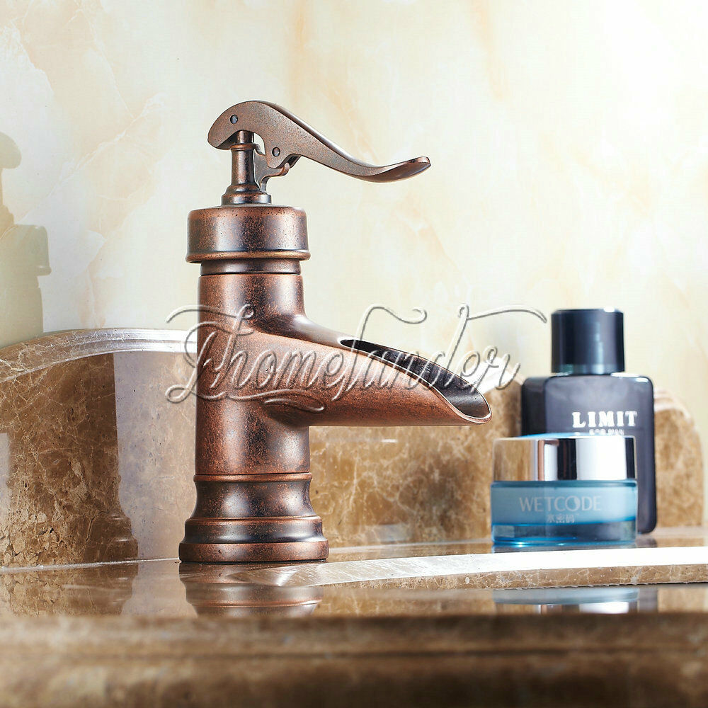 Bathroom Sink Faucets: Centerset Antique Copper Finish Rustic Single Handle Brass Bathroom Sink Faucets