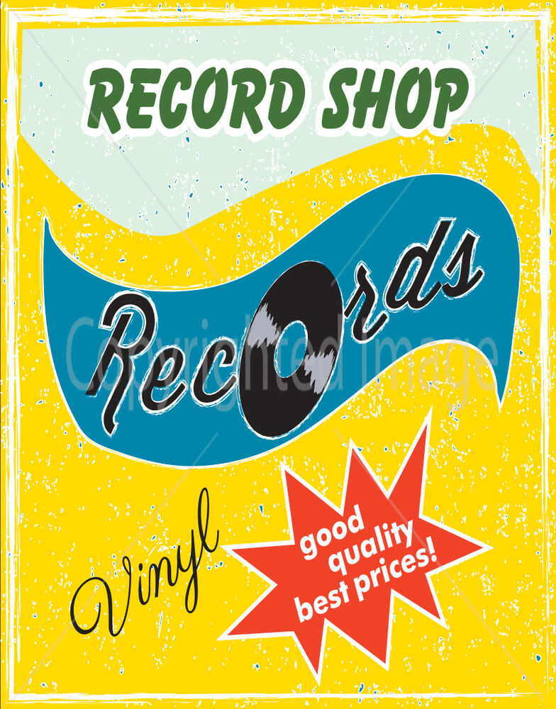 Record Shop Vinyl Best Prices Large Metal Tin Sign Poster