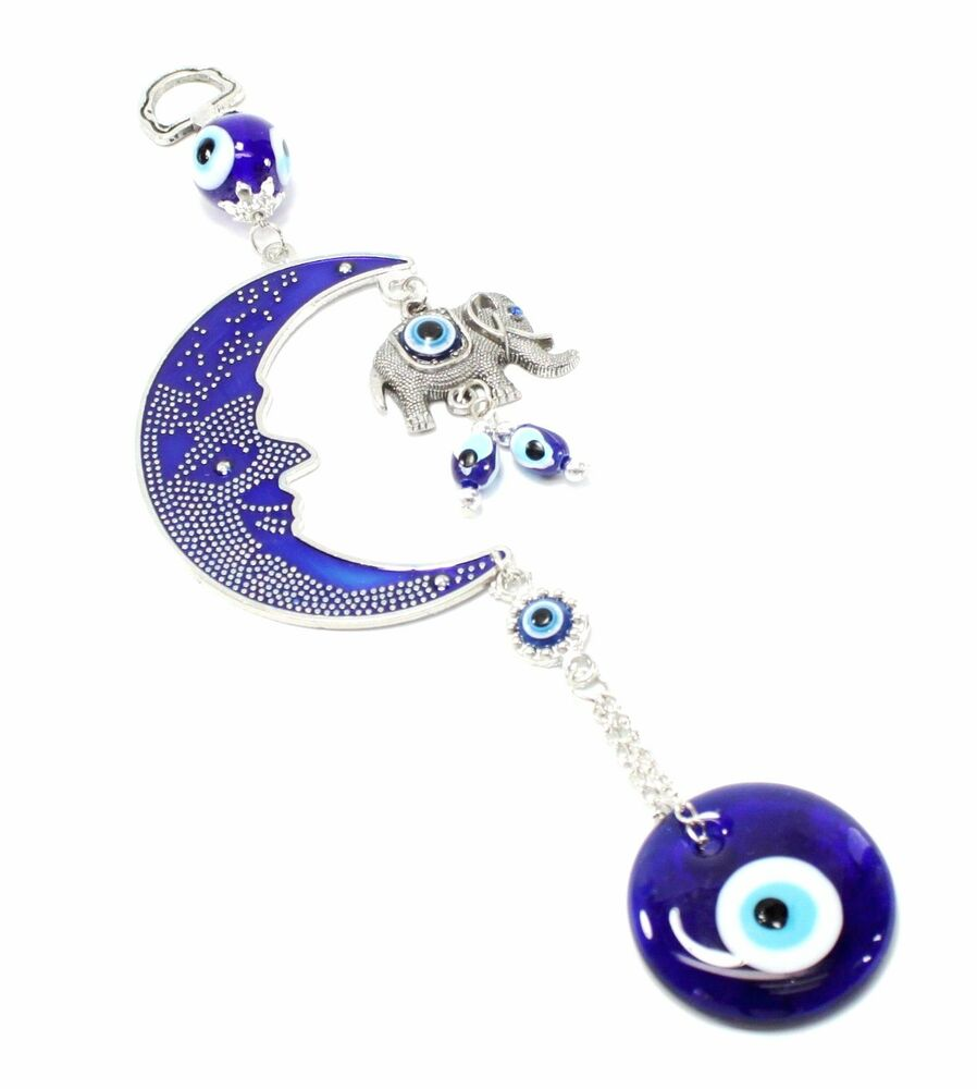 Blue Evil Eye Moon Amp Elephant Amulet Protection Wall