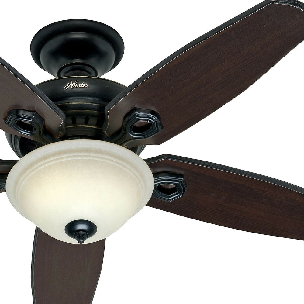 Hunter 52 In. Basque Black Ceiling Fan With Light & Remote