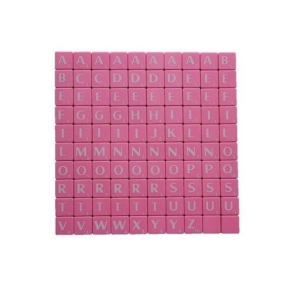 pink plastic scrabble tiles letters 100 set pieces tiles art craft