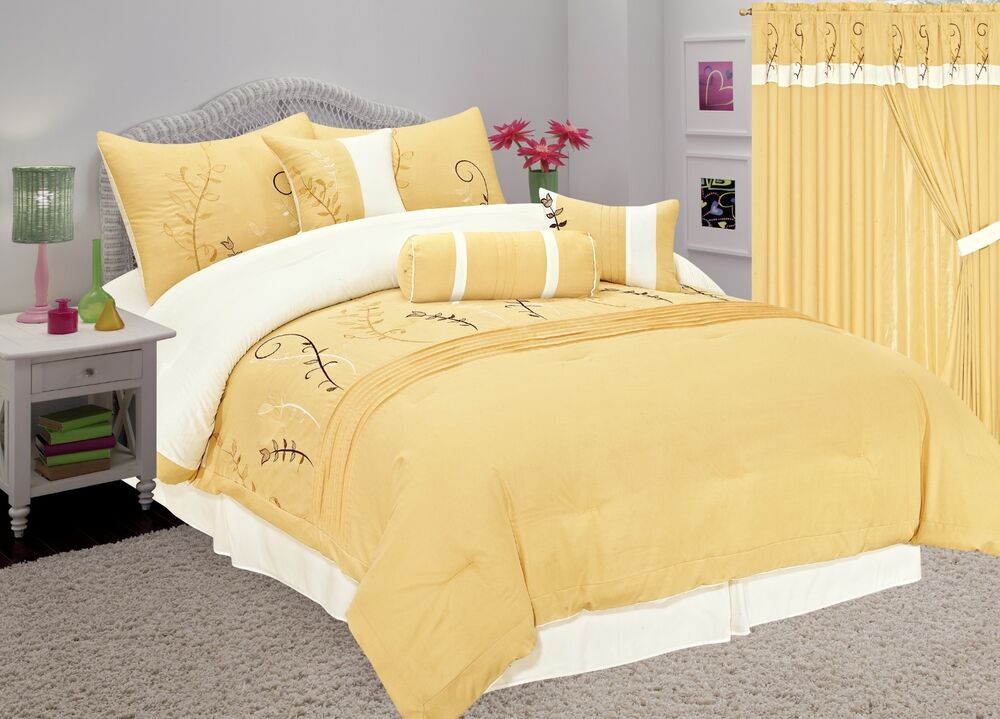 7pc Soft Embroidered Yellow Gold Modern Comforter Set