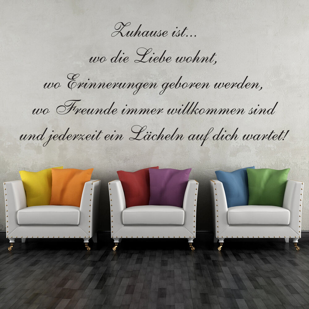 wandtattoo 60cm zuhause ist wo die liebe wohnt sticker. Black Bedroom Furniture Sets. Home Design Ideas