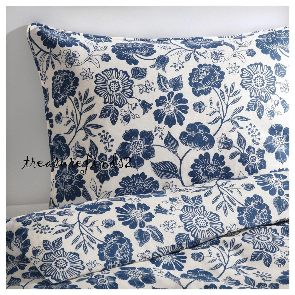 ikea 100 linen ngs rt duvet quilt cover set white blue angsort floral twin ebay. Black Bedroom Furniture Sets. Home Design Ideas