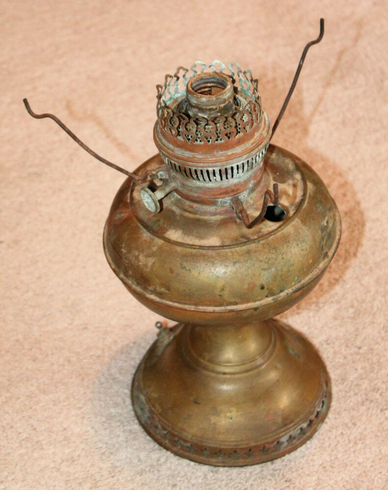 Antique Replacement Parts : Antique brass oil lamp electrified for parts or repair ebay