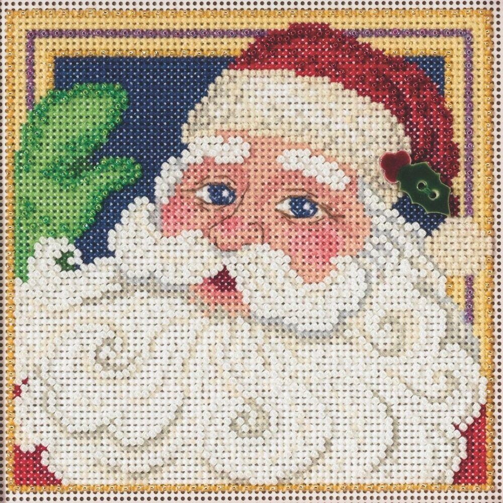 jolly st nick beaded cross stitch kit mill hill 2015