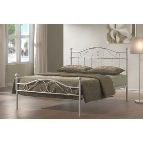 Cheap Modern Bed Frames: 4FT6 DOUBLE METAL BED FRAME WHITE BEDROOM FURNITURE ON