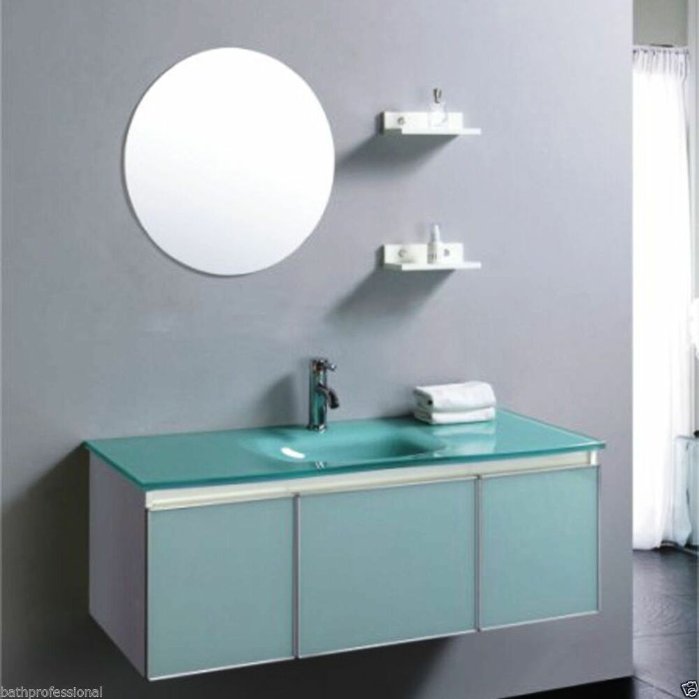 Vanity unit cabinet bathroom basin sink wall hung tap for Glass bathroom cabinet