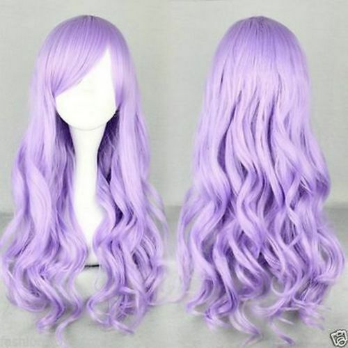 Anime Girl With Long Curly Hair: 70 Cm Long Purple Lavender Synthetic Hair Wigs Beautiful