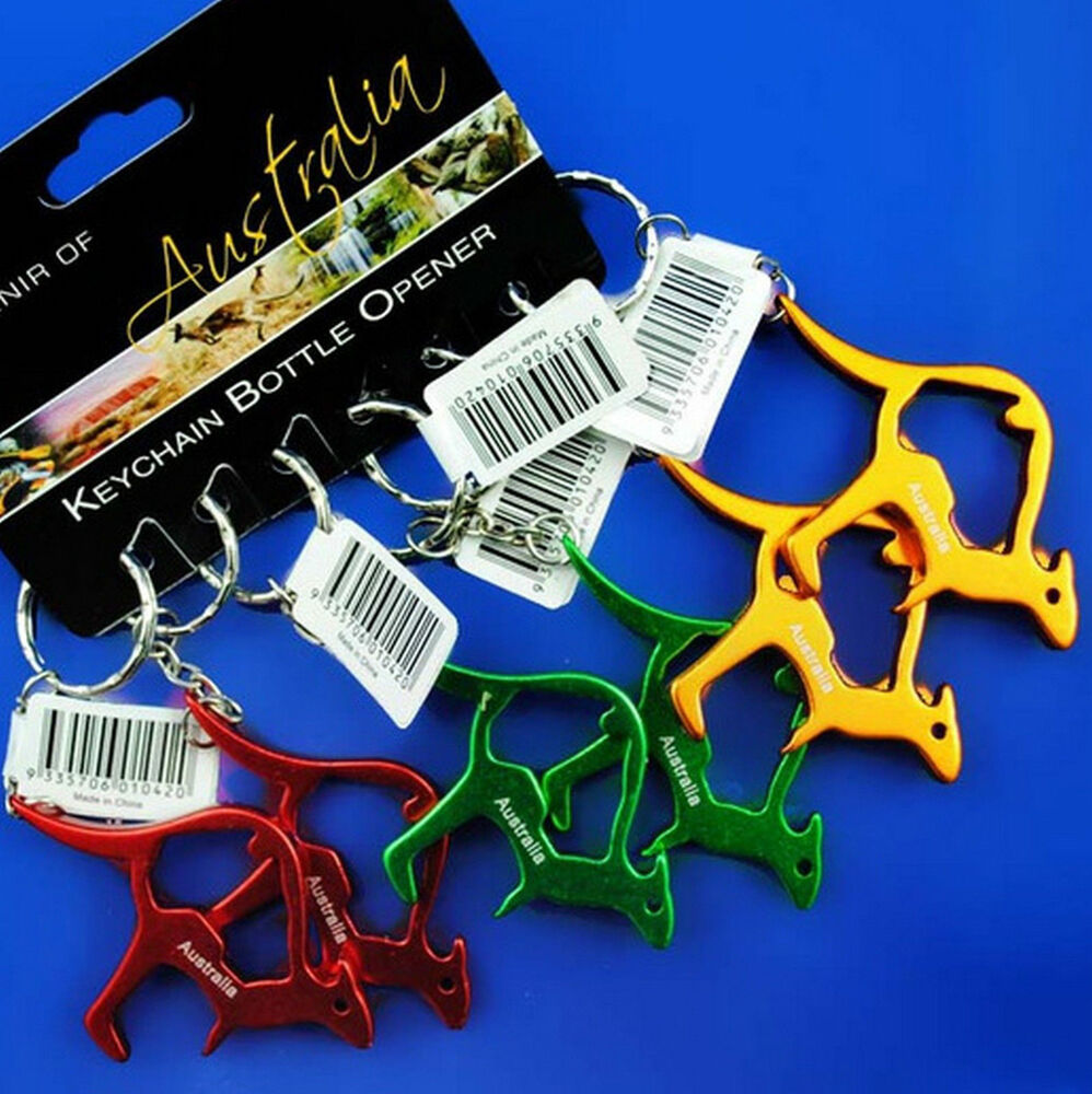 6 australia souvenir kangaroo shape key ring chain bottle opener aluminium ebay. Black Bedroom Furniture Sets. Home Design Ideas