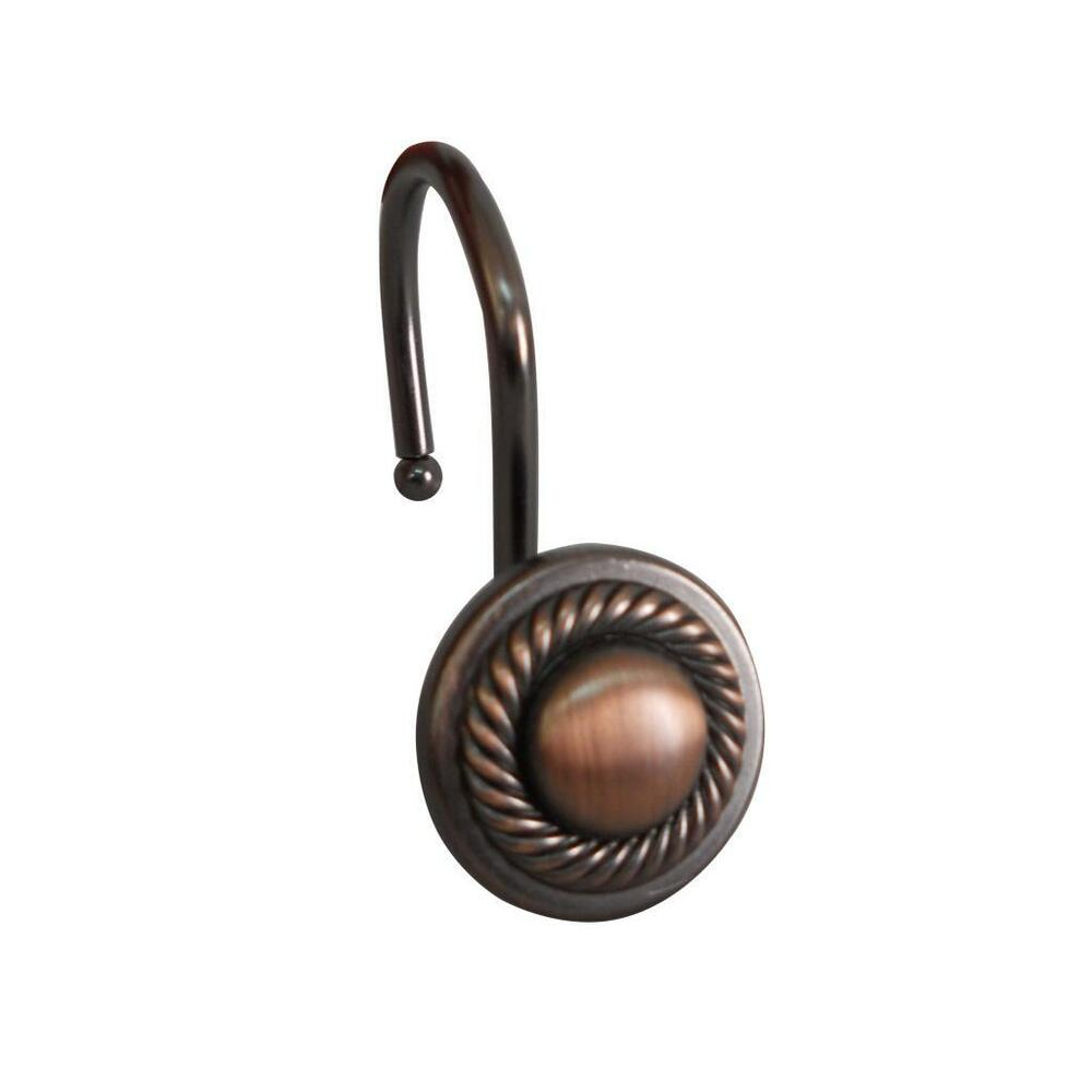 Decorative Round with Rope Shower Hook Set Oil Rubbed Bronze Pack of ...