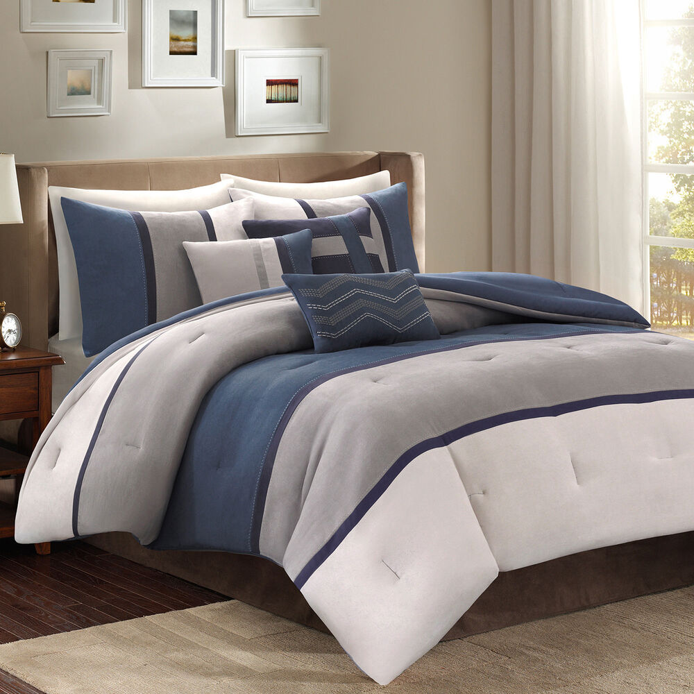 blue gray bed bag luxury 7 pc comforter set cal king queen home daybed bedding ebay. Black Bedroom Furniture Sets. Home Design Ideas