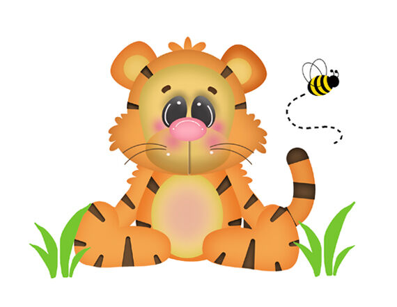 Safari tiger wall mural decals baby girl boy nursery for Baby jungle mural