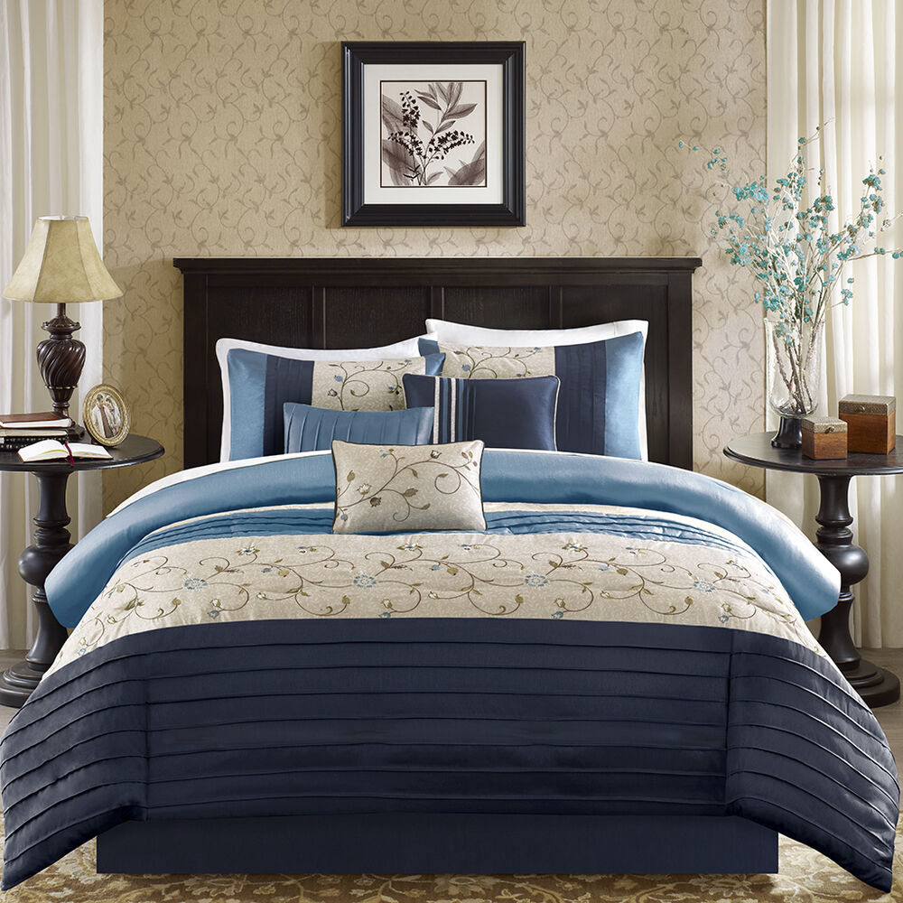 Beautiful Modern Chic Blue Navy Beige Taupe Floral Leaf