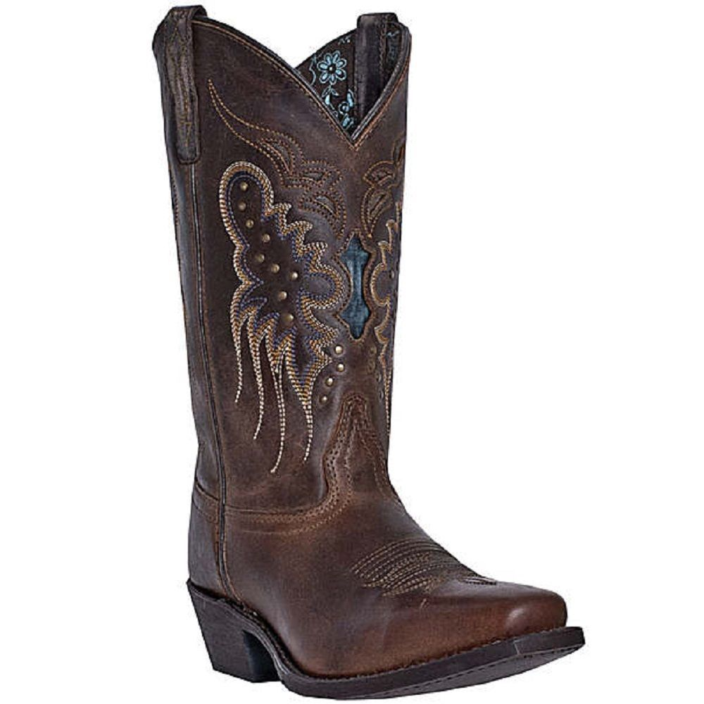 Elegant Womenu0026#39;s Justin Cowboy Boots In Brown With Feather Stitch