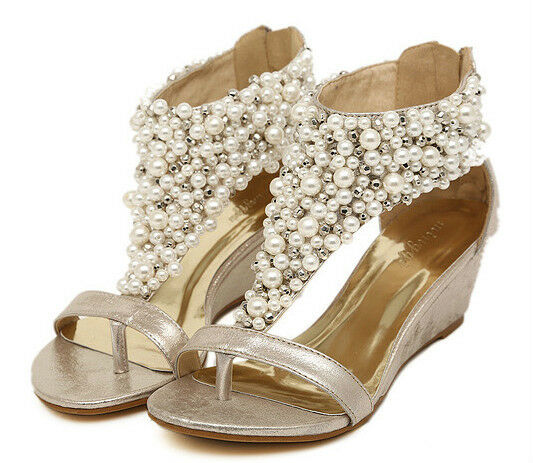 Wedge Heel Shoes For Wedding: Gold Women Diamond Pearl Wedge Mid Heel Ankle Strap
