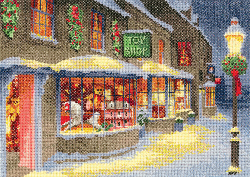 Christmas Toy Store : Heritage crafts collection christmas toy shop cross stitch