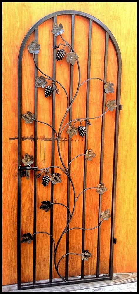 Wrought Iron Wine Cellar Door Gate Grapevine Vineyard
