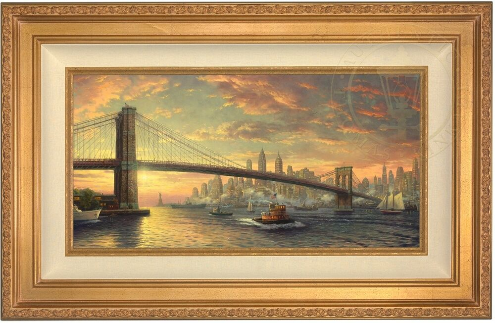 thomas kinkade spirit of new york 12 x 24 le g p canvas gold frame ebay. Black Bedroom Furniture Sets. Home Design Ideas