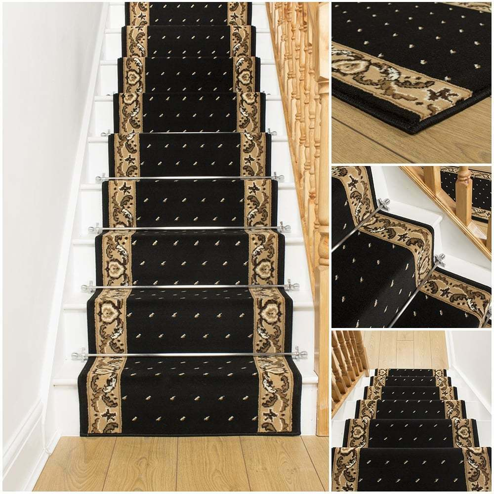 Pin dot black stair carpet runner for narrow staircase for Cheap good quality rugs