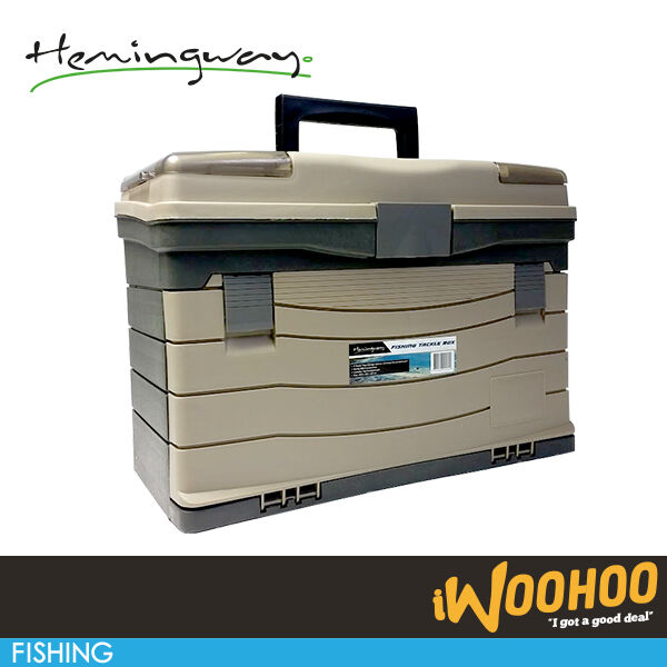 Fishing tackle box hemingway large 17 sturdy heavy duty for Large tackle boxes for fishing
