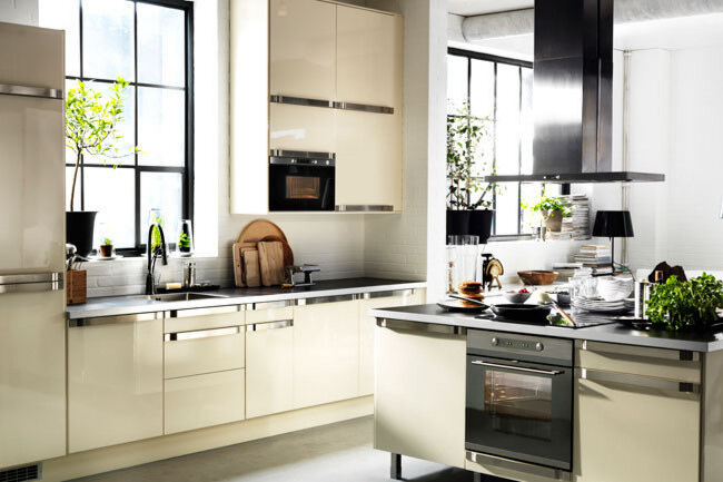 ikea abstrakt kitchen cabinet door front high gloss cream ivory white drawer new - Cream Kitchen Cabinet Doors
