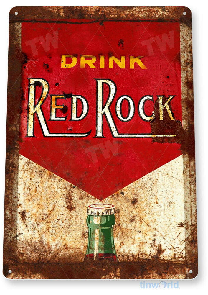 Tin sign quot red rock cola bottle metal decor wall art shop