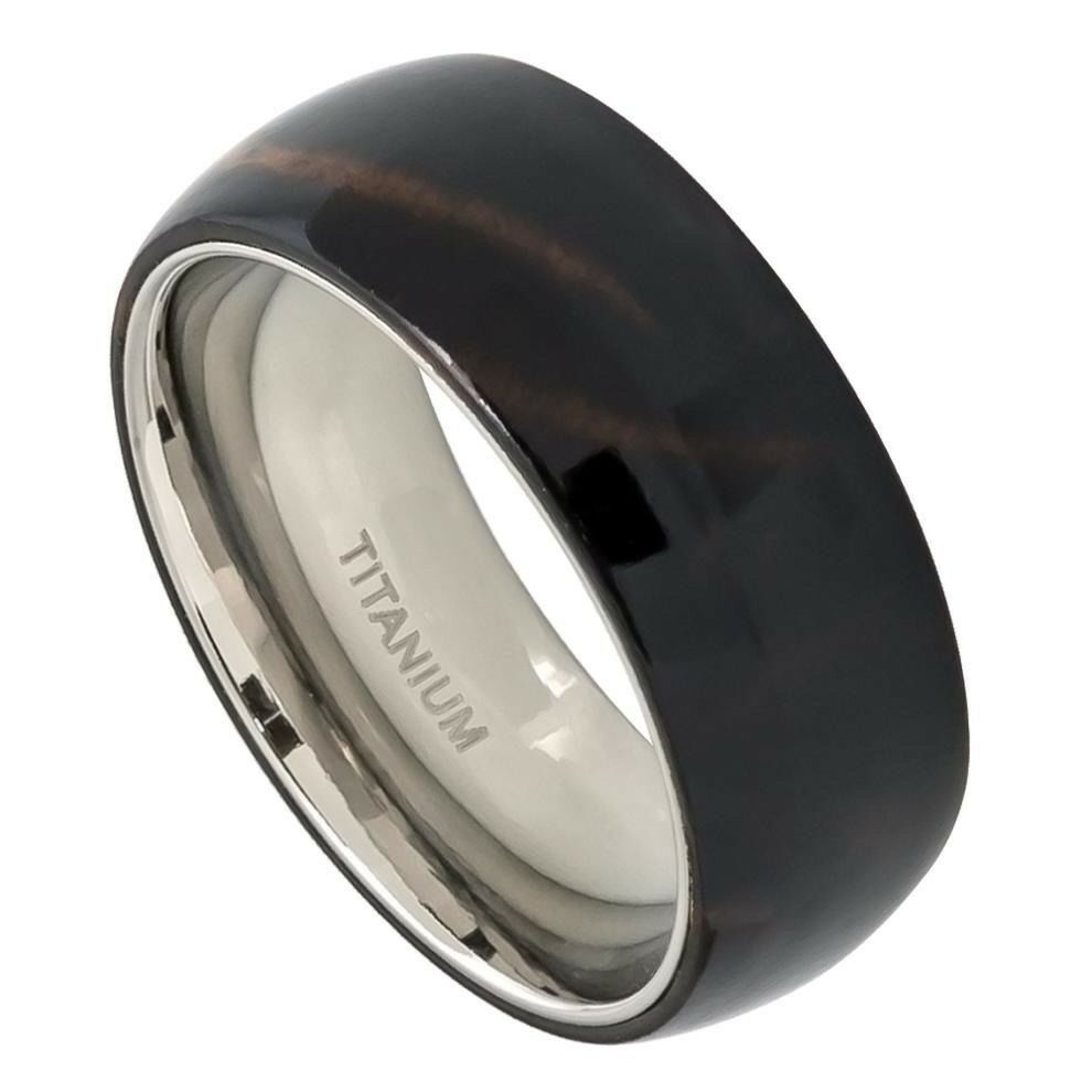 African Bands: Comfort Fit Titanium 8mm Domed African Black Wood Inlay