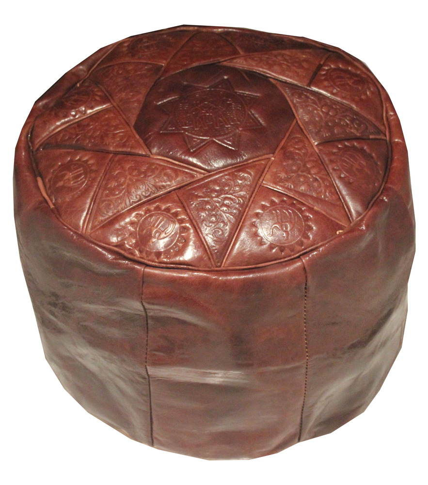 brown genuine leather moroccan pouf pouffe handmade ottoman footstool ebay. Black Bedroom Furniture Sets. Home Design Ideas
