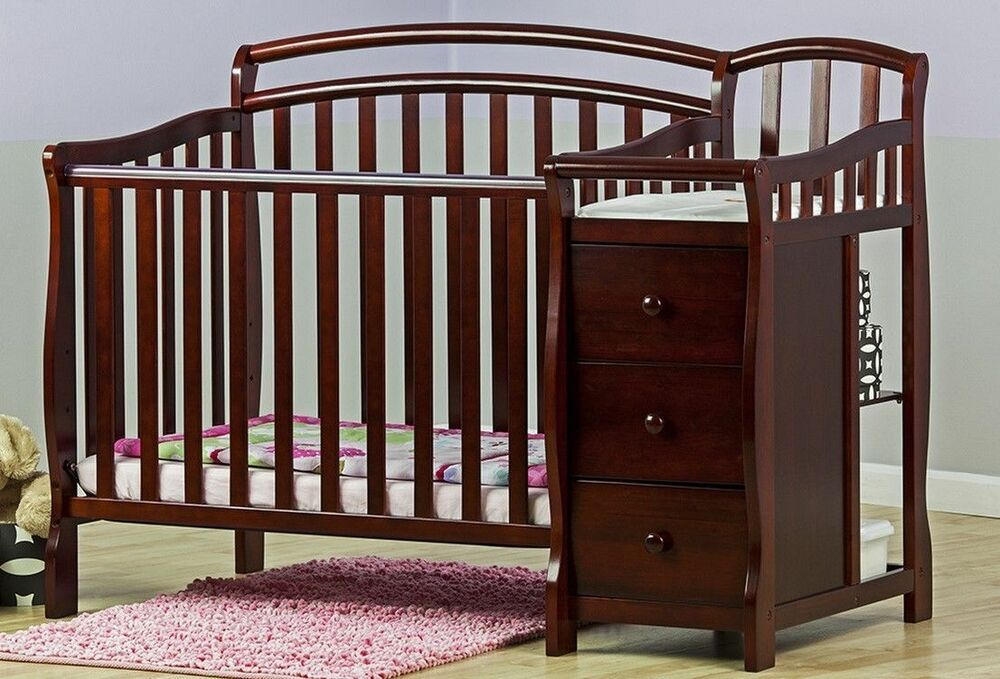 Convertible Baby Bed 3 In 1 Mini Crib Cherry Dressing ...