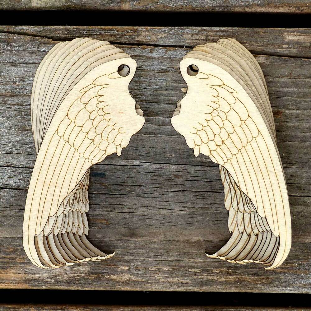 10x wooden pairs of angel wings craft shapes 3mm plywood
