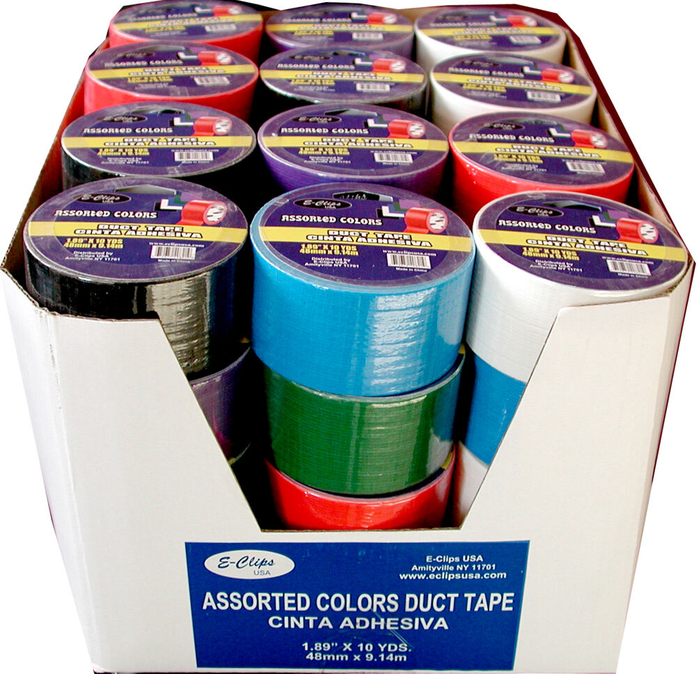 48 rolls duct tape assorted 6 colors 1 89 quot 2 quot x 10 yards ebay