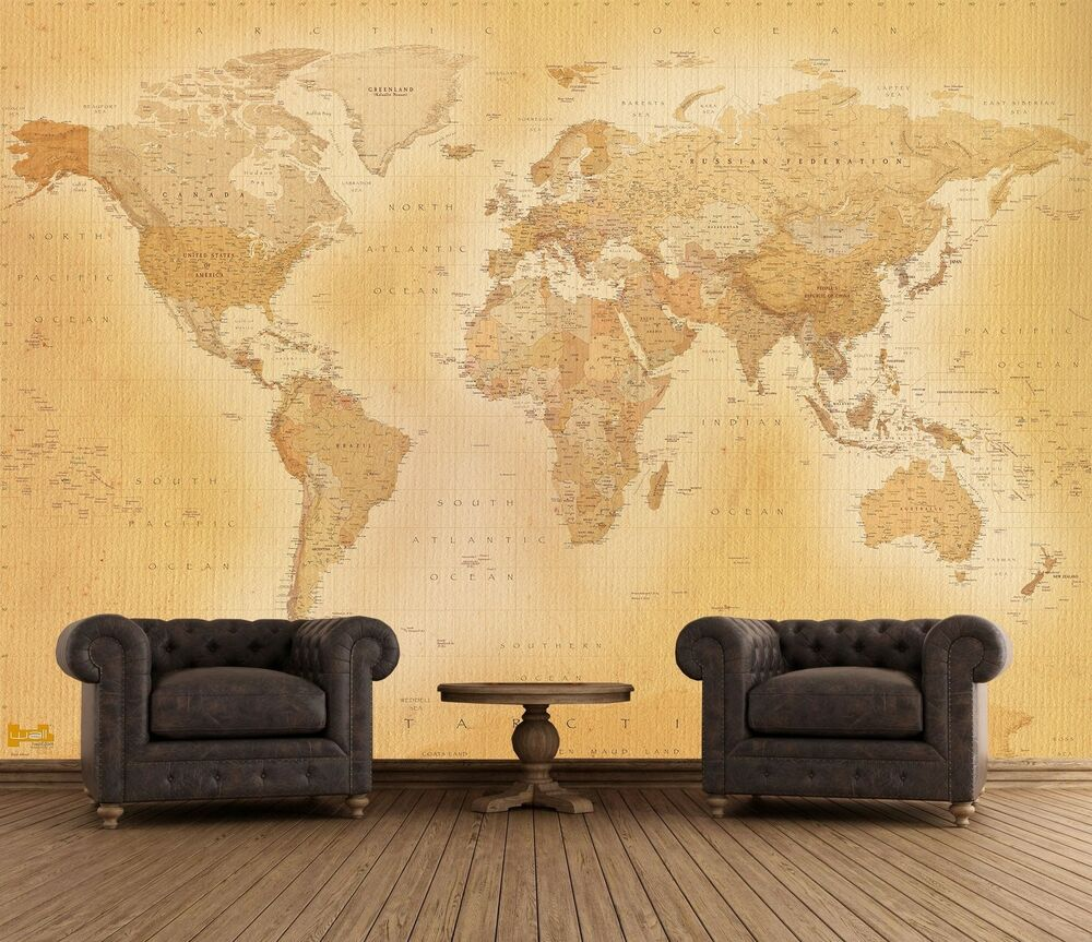 Wall mural giant size old style world map photo wallpaper for Murales de papel pintado