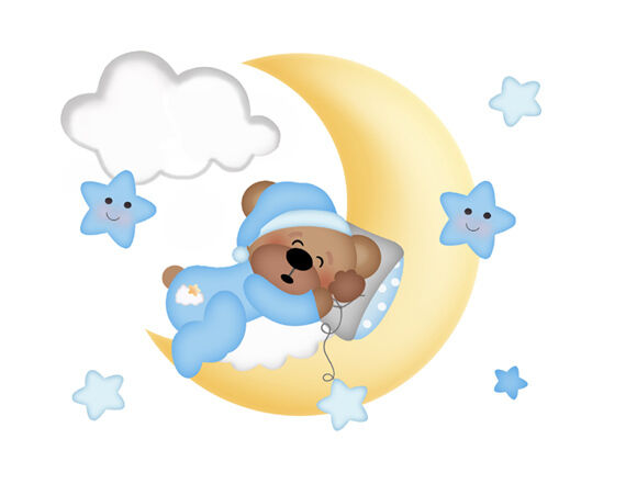 Teddy bear mural wall decal baby boy nursery cloud moon for Baby boy wall mural