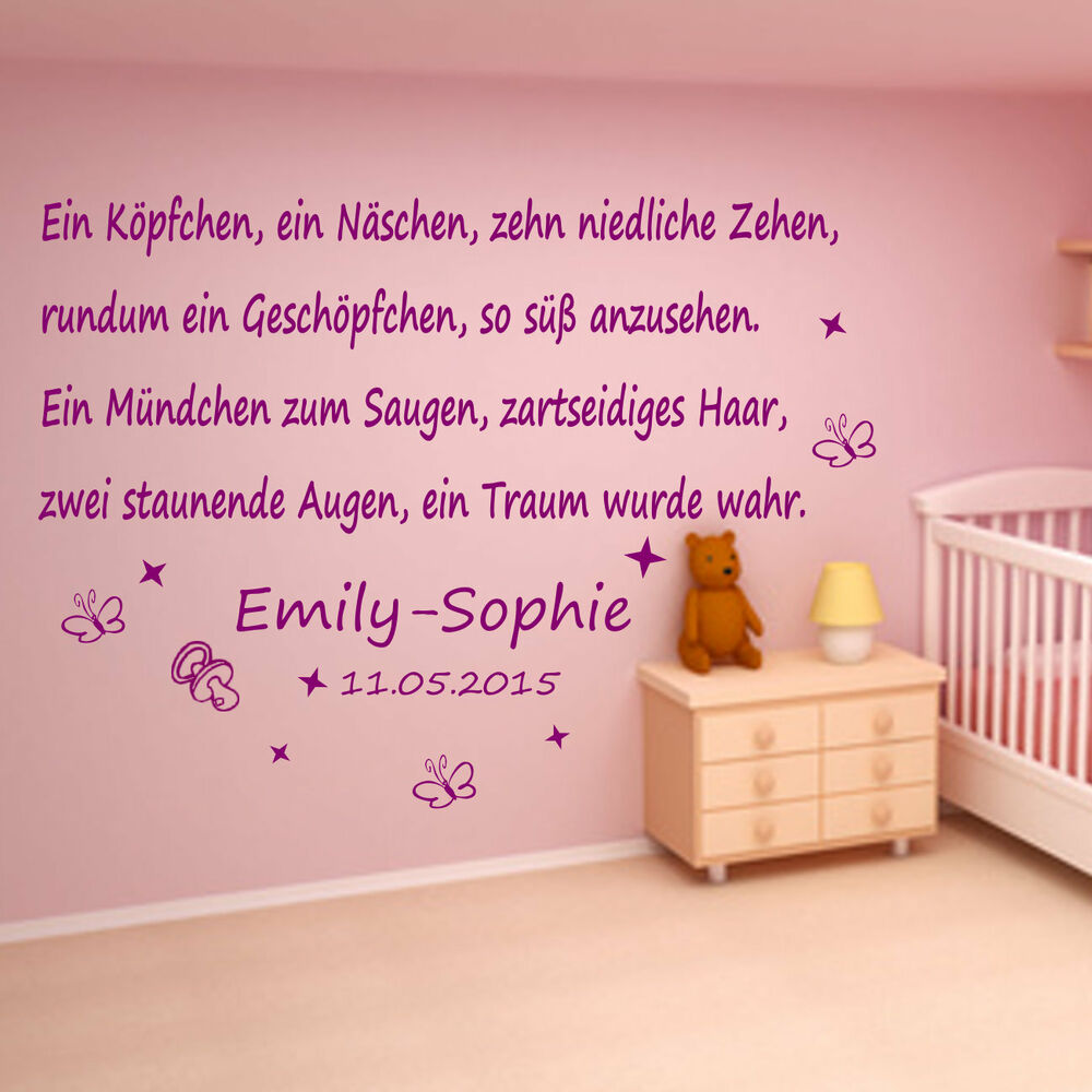wandtattoo babykinderzimmer mit wunsch namen und. Black Bedroom Furniture Sets. Home Design Ideas